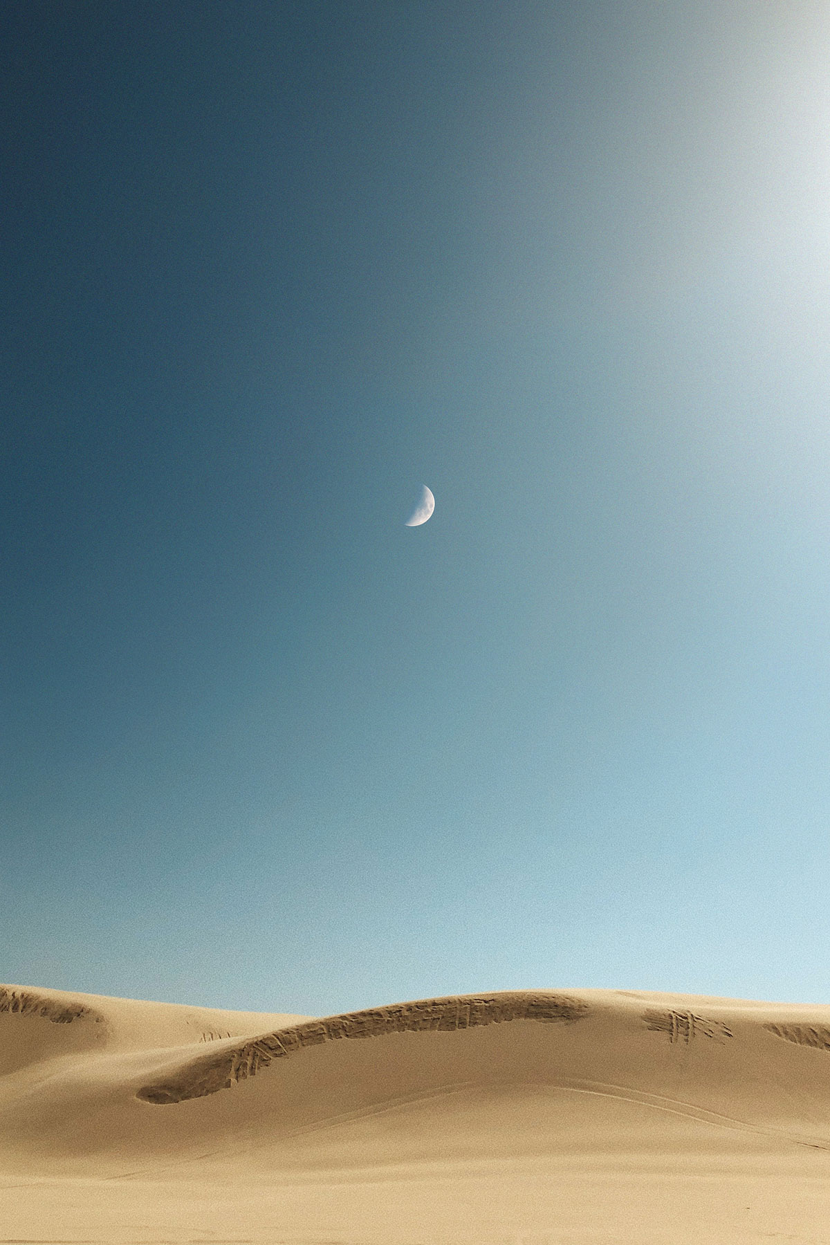 Moon over desert